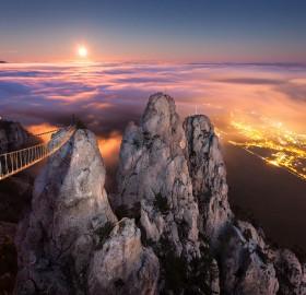 full moon over yalta, ukraine