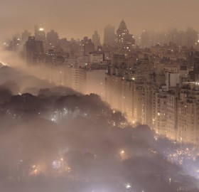 new york city at night in the fog