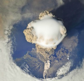 spectacular view of russia`s sarychev peak volcano erupting