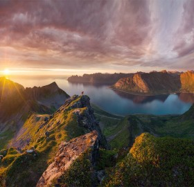 sunset over senja, norway