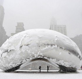 chicago bean covered in snow