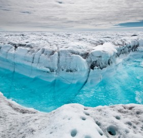 melt water rushing, greenland