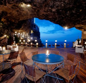restaurant inside a cave, italy