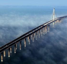world`s longest bridge, jiaozhou bay, china