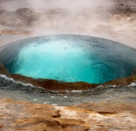 geyser in iceland, just a seconds before eruption