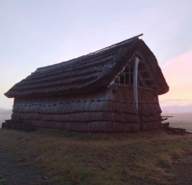 reconstructed thatch home from the prehistoric times, japan