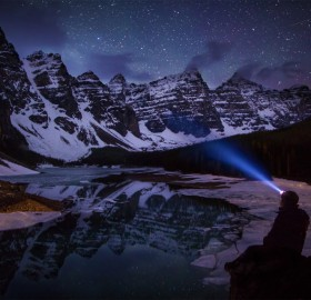 a night view on moraine lake, canada