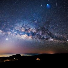 a rocket, a meteor, and the milky way in one photo