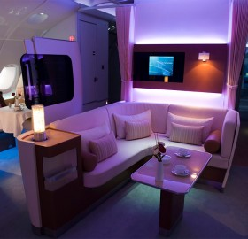 first class cabin on the airbus A-380
