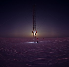 scientists working on a tower in antarctica