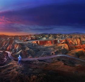 sunrise over zhangye danxia geological park
