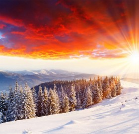 sunset in winter scenery