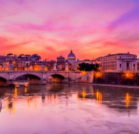 the urban landscape of rome with a amazing sunset