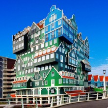funky stacked hotel in holland