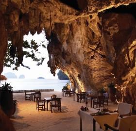 restaurant inside cave, thailand