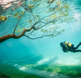 diving in green lake, austria