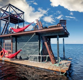 floating home with sauna