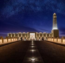 grand mosque under stars, doha, qatar