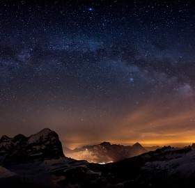 milky way above cortina d`ampezo, italy