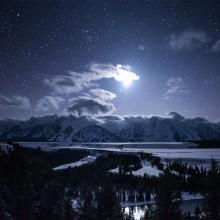 moonlit teton range, wyoming