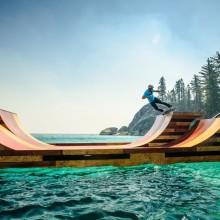 skateboarding on floating ramp