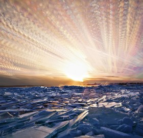 400 photos merged into one, icy sunset