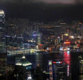 hong kong skyline in night