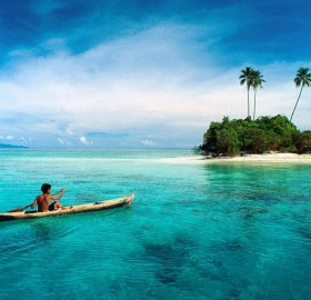 kayaking in paradise, solomon islands, south pacific