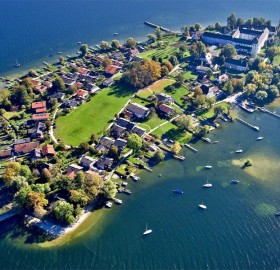 aerial view of frauenchiemsee island, germany