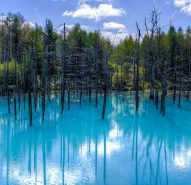 blue pond, japan