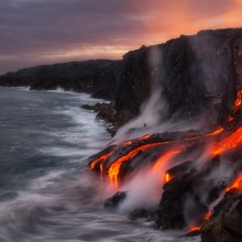 lava flow in ocean from big island, hawaii