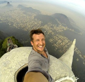 selfie at the top of christ the redeemer statue, rio de janeiro