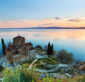 sunset over ohrid lake, macedonia