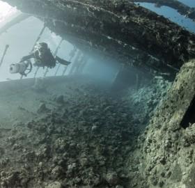 diving inside shipwreck