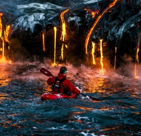 kayaking extremely close to volcano