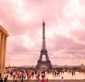 pink sky of paris