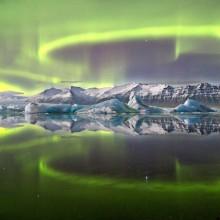 aurora over a glacier lagoon, iceland