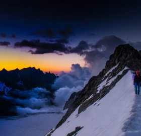 climbing the roche paillon during sunrise