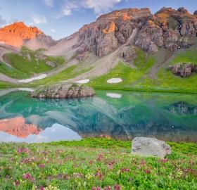 crystal blue lake in the san juan mountains, colorado