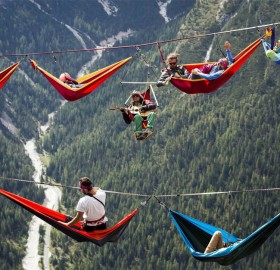 international highline meeting in monte piana, italian alps
