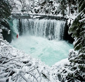 kayaking on ice cold spirit falls, washington