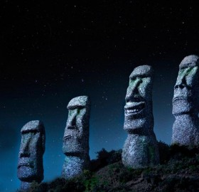 moai statues on easter island, chile