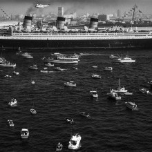 queen mary arrives in long beach, 1967