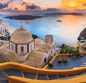 sunset at santorini, greece