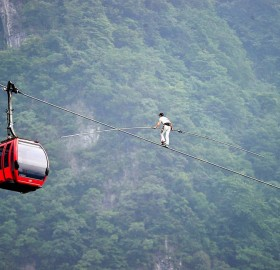 walking on cable car wire, china