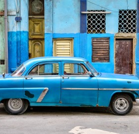 blue car in havana, cuba