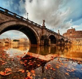 bridge in rome at autumn, italy