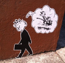 calvin and hobbes street art, portland