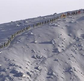 japanese rescue team climbing volcano