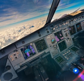 magical view from the airplane cockpit